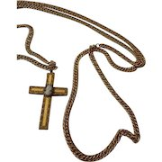 Fabulous early Hobe' cameo cross pendant -heavy long chain