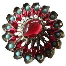 Outstanding-Vintage Eisenberg sterling-stones dress clip/fur clip/pin