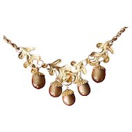 Vintage 1960's moonglow-Dangling acorn necklace
