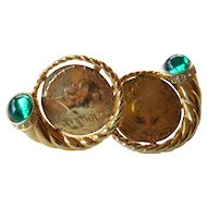 Coin and glass stone earrings