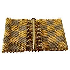 Amazing checker board-gold/silver bracelet