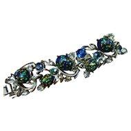 Vintage Coro pegasus logo-art glass stones bracelet