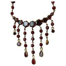 Vintage czech-Natural garnet stones necklace