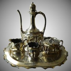 1850-1899 Victorian tea set-Pairpoint-heavy silver plate