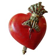Enameled and jeweled heart pin-Vintage