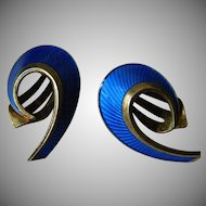 Stunning enameled sterling earrings-Hans Mayrhe