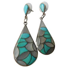 Striking -native American dangle earrings-Mop and turquoise-Sterling