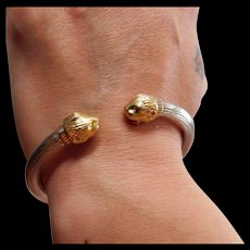 Exquisite-hand made-Greece-Ilias Lalaounis-sterling & 18k gold bangle bracelet-sold to a wonderful lady