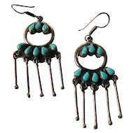 Gorgeous dangling Native American-sterling-turquoise earrings