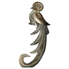 Signed -etched Silver exotic bird pin