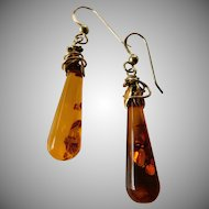 Resin amber dangle earrings-14k gold filled