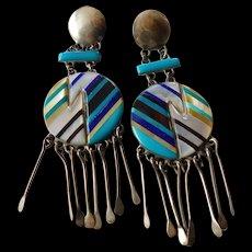 Fabulous drop chandelier Native American made earrings