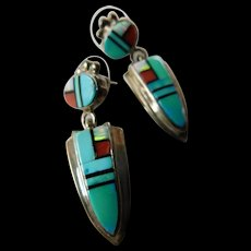 Stunning inlay Zuni -sterling earrings