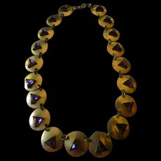 Arts & crafts era-copper disk and glass stones necklace