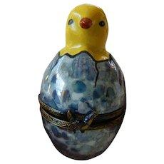 """Limoges porcelain """"Chick"""" figure-trinket box"""