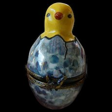 "Limoges porcelain ""Chick"" figure-trinket box"