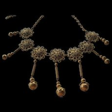 Vintage brass-fancy necklace-Dangles