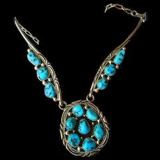Sterling-natural turquoise-Native American necklace