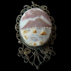 Vintage-Japan silver-carved shell pendant