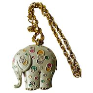Elephant pin/pendant/chain-enameled