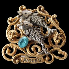 "Signed pin-""art""- Pisces zodiac pin"