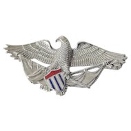 American eagle pin with enameling-sterling