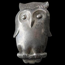 signed Owl pin-sterling