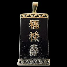 Asian pendant-onyx-14k gold