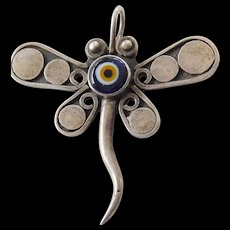 Heavy-signed dragonfly pendant