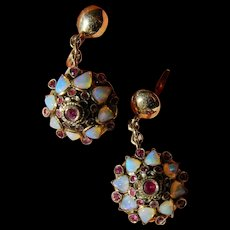 Thai princess ruby- - opal earrings-18k gold