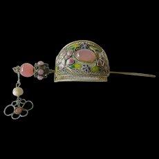 Vintage Asian hair jewelry-silver-stones & enamel