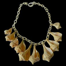Sea shells with celluloid chain necklace
