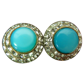 signed-Lisner-jeweled earrings
