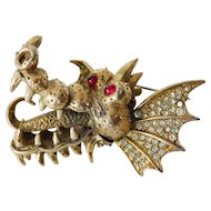 "Outstanding signed Hattie Carnegie ""Dragon"" pin"