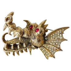"Outstanding signed Hattie Carnegie ""Dragon"" pin"