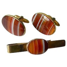 Banded agate gold filled Cufflinks with tie clip