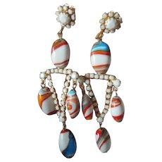 Glass stone dangling earrings