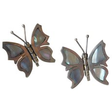 Signed sterling-abalone butterfly earrings
