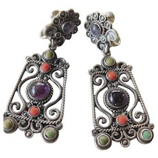 Gorgeous vintage Rafael Dominguez stone set earrings