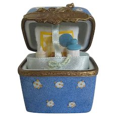 Exquisite French Limoges Rare Baby Basket Chest Trinket Box - made in France