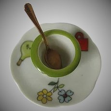 Limoges hand painted Yogurt dish, saucer & spoon - made in France