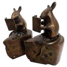 Bronze Mouse and Cheese Bookends Set