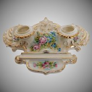 Antique German made Double Porcelain Hand-Painted Ink Well and pen Holder