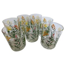 Vintage Neiman Marcus Wildflower Weed Glass Tumblers - Set of 7 - Mid Century