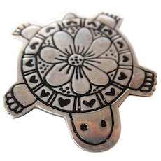 Mexican sterling turtle pin