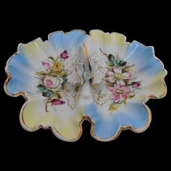Vintage Carl Tielsch Double Vegetable Porcelain Bowl w/handle