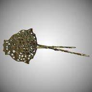 Vintage Brass Ornate Scissor Tongs, Fleur de Lis, Ornate Pastry Server