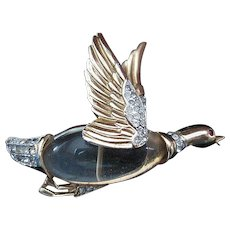 "Signed ""Coro"" jelly-belly flying goose pin"