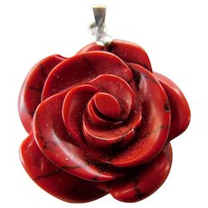 "Sweet carved stone ""Rose"" pendant"