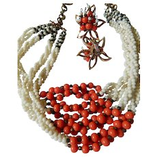 Glass beads necklace & earrings-1950's